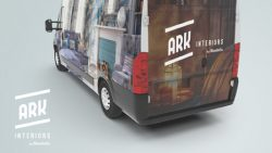 Ark Interiors and Flooring Logo Graphic Design Delivery Van
